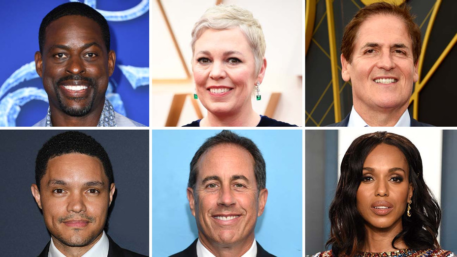 Sterling K. Brown, Olivia Colman, Mark Cuban, Trevor Noah, Jerry Seinfeld, Kerry Washington-Getty - Split - H 2020