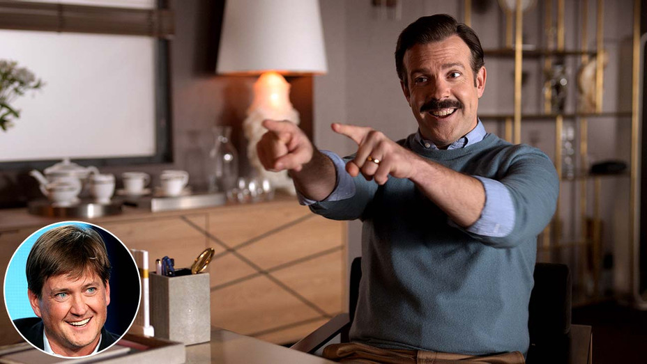 """""""Ted Lasso"""" show featuring star Jason Sudekis with an inset of showrunner Bill Lawrence-Publicity still - Getty- Inset - H 2020"""