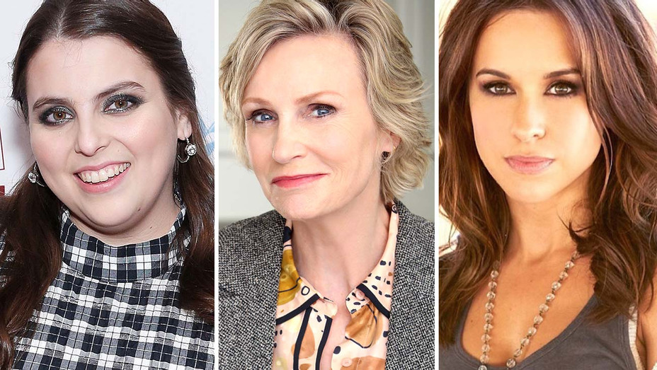 Beanie Feldstein, Jane Lynch and Lacey Chabert- Getty - Publicity - Split - H 2020