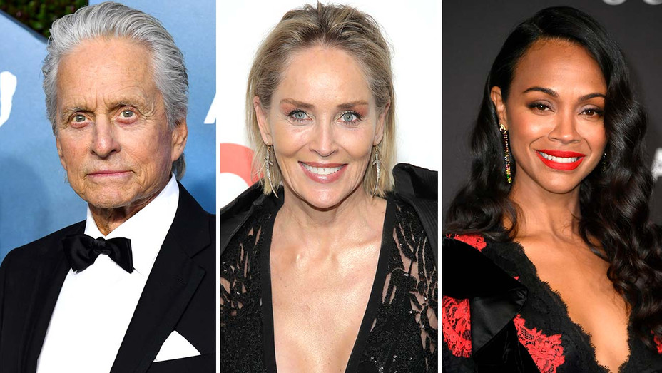 Michael Douglas, Sharon Stone - Zoe Saldana - Split-Getty-H 2020