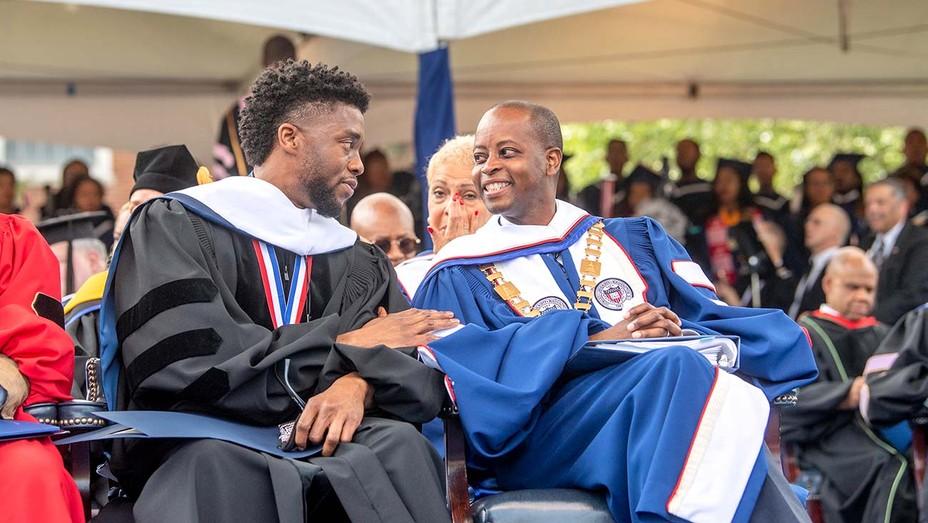 Chadwick Boseman and Howard University president Wayne A.I. Frederick