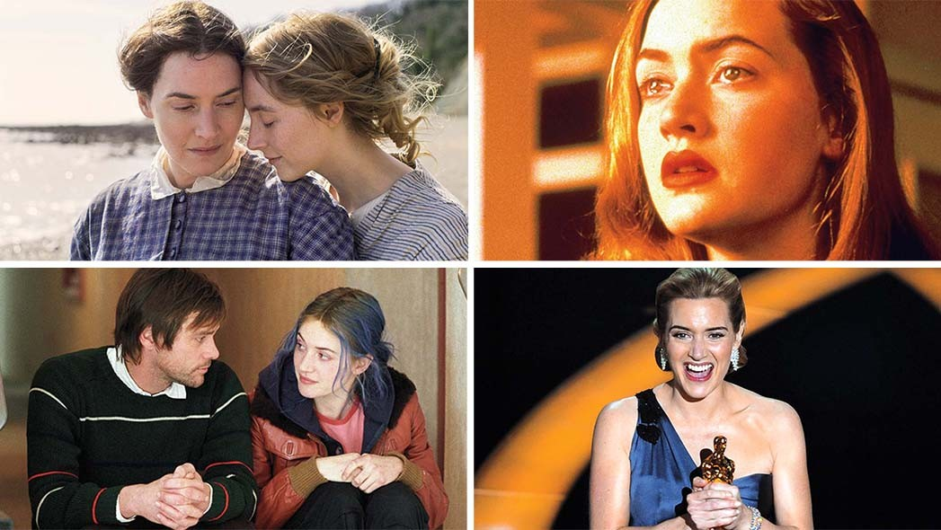 (Top right-left) Winslet and Saoirse Ronan in 'Ammonite'; Winslet in director Peter Jackson's breakthrough feature 'Heavenly Creatures' (1994); (Bottom right-left) with Jim Carrey in Michel Gondry's 'Eternal Sunshine of the Spotless Mind' (2004); with her best actress Oscar for 'The Reader' at the 2009 awards ceremony.