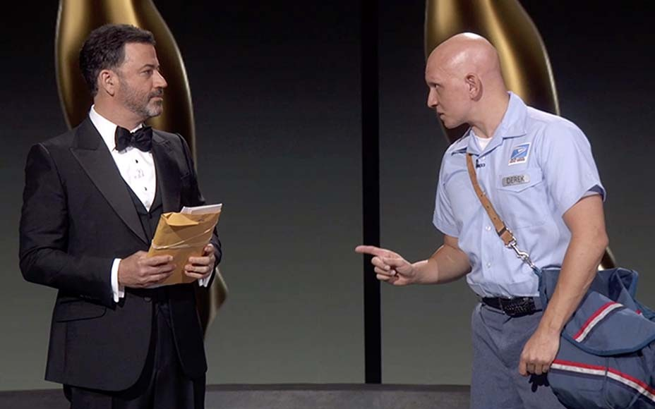 Emmys: Jimmy Kimmel, Anthony Carrigan Spoof USPS Controversy With Mailman Bit