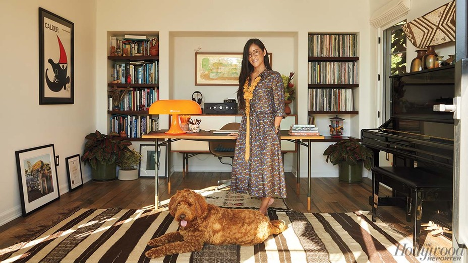 "Lisa Nishimura was photographed Aug. 12 in her Mar Vista home office, which she shares with Norbu, her Australian Labradoodle. ""He is often under my desk."""