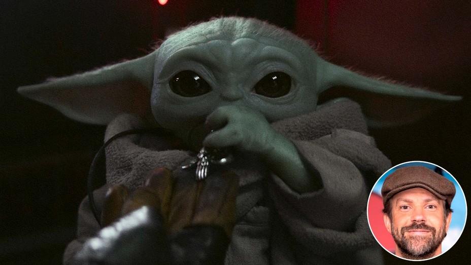 Baby Yoda. Inset: Jason Sudeikis