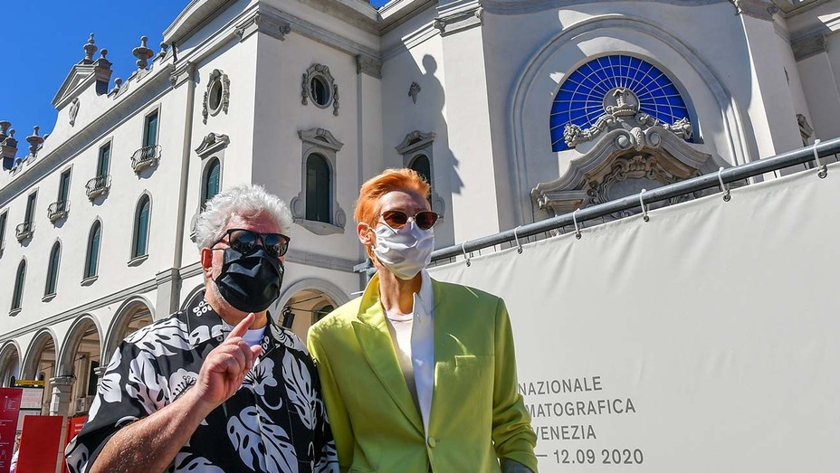 Pedro Almodovar and Tilda Swinton - face masks 2-Getty - H 2020