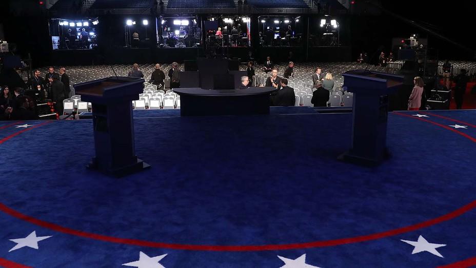 Empty presidential debate stage