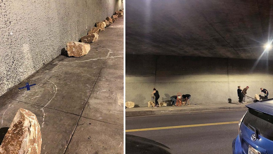 South Robertson residents placed boulders blocking a homeless encampment under the 10.