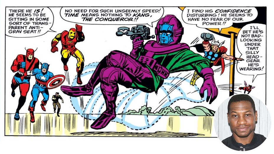 Kang the Conqueror -Marvel Entertainment and inset of Jonathan-Majors