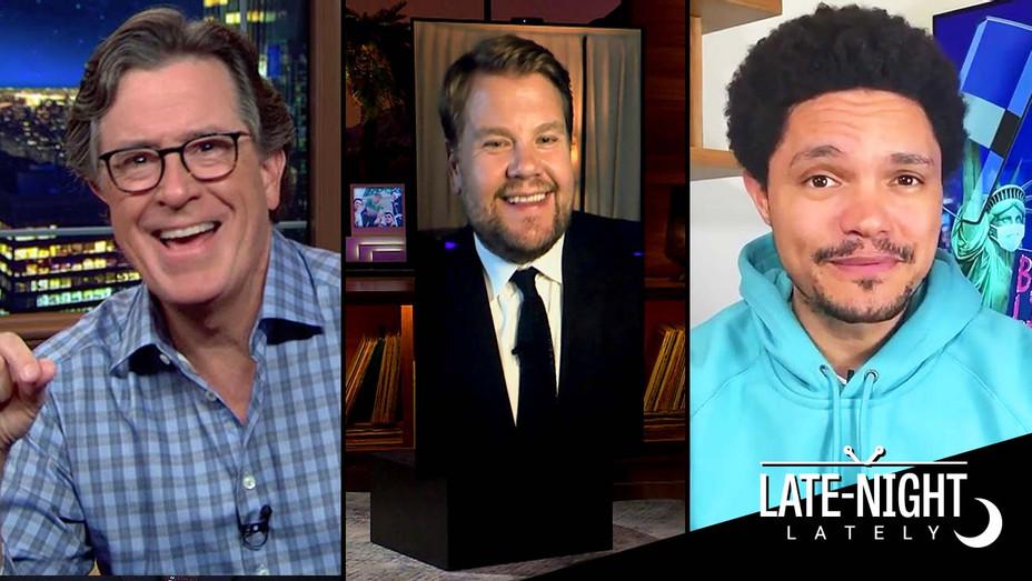 Stephen Colbert, James Corden and Trevor Noah