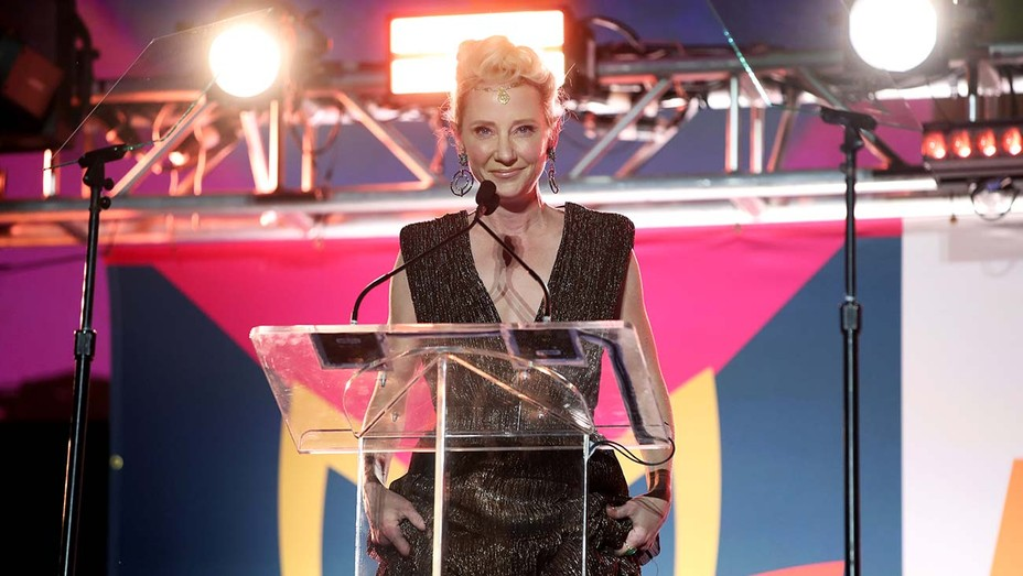 Anne Heche speaks onstage at the 27th Annual Race To Erase MS: Drive-In To Erase MS at Rose Bowl on September 04, 2020 in Pasadena, California.