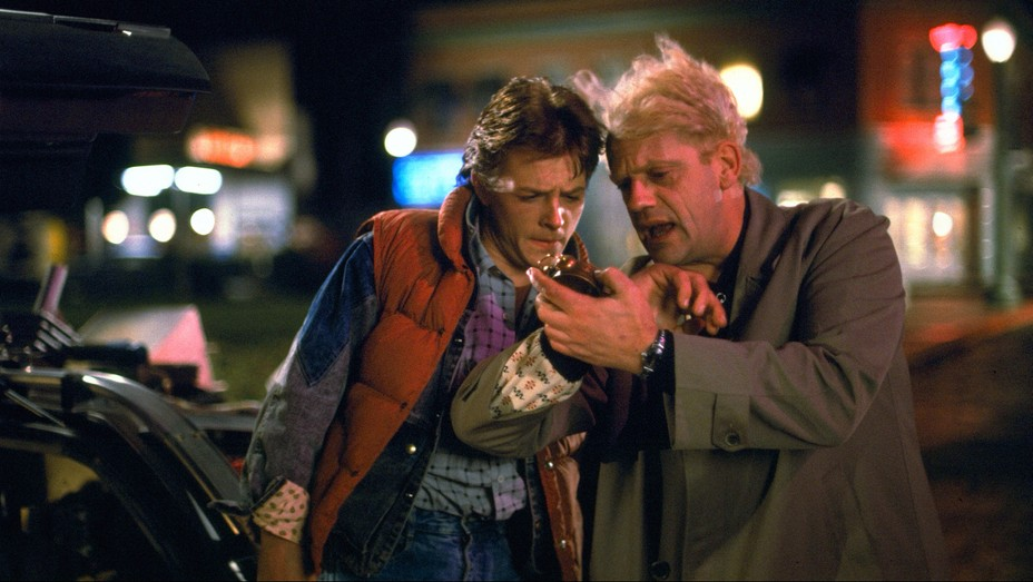 Marty McFly (Michael J. Fox) and Doc Brown (Christopher Lloyd) in 'Back to the Future' (1985).