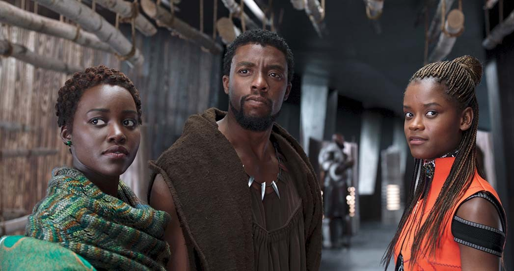Black Panther Lupita Nyong'o, Chadwick Boseman and Letitia Wright