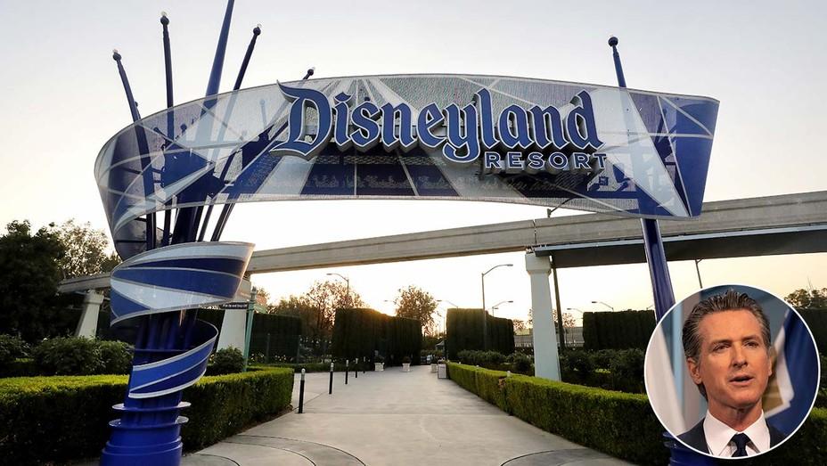 Disneyland Resort and inset of Governor Newsom