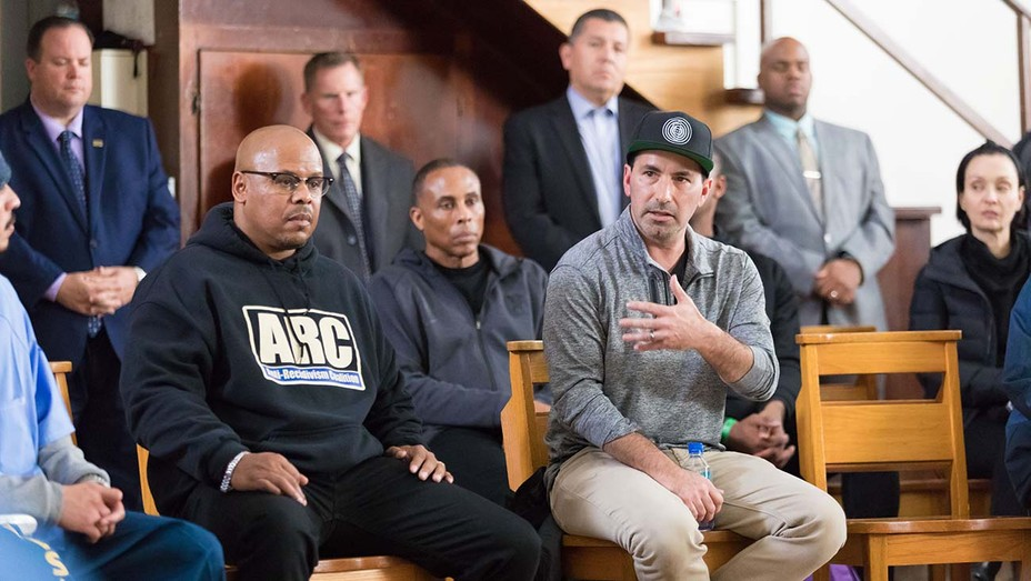 Sam Lewis, executive director of ARC and producer Scott Budnick at a Play for Justice event with the Sacramento Kings at Folsom State Prison.