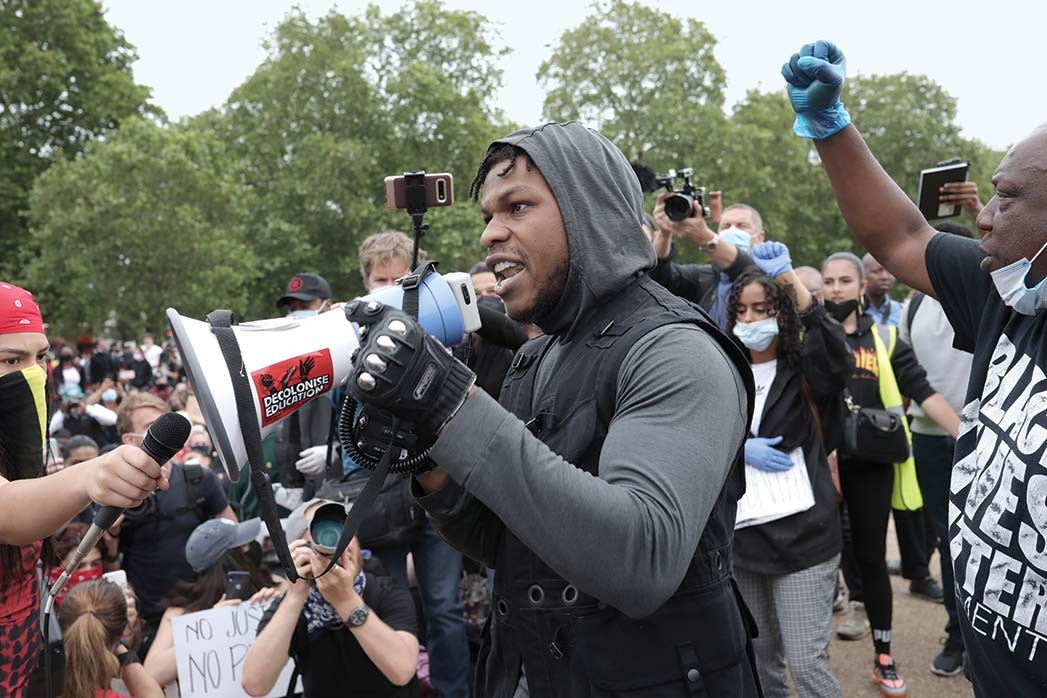 John Boyega speaks to the crowd -Black Lives Matter Movement Inspires Protest In London