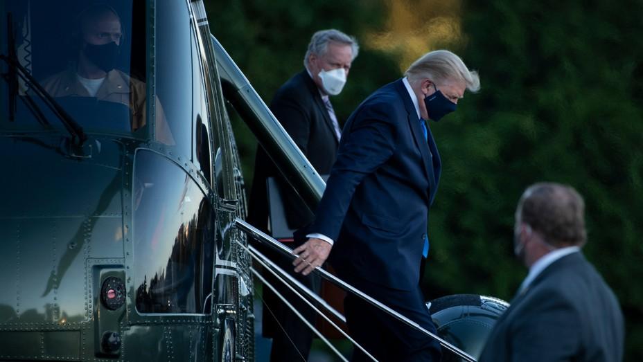Donald Trump arriving at Walter Reed Medical Center