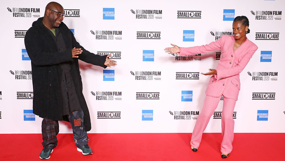 Steve McQueen and Letitia Wright at the 2020 BFI London Film Festival opening night screening of Mangrove.