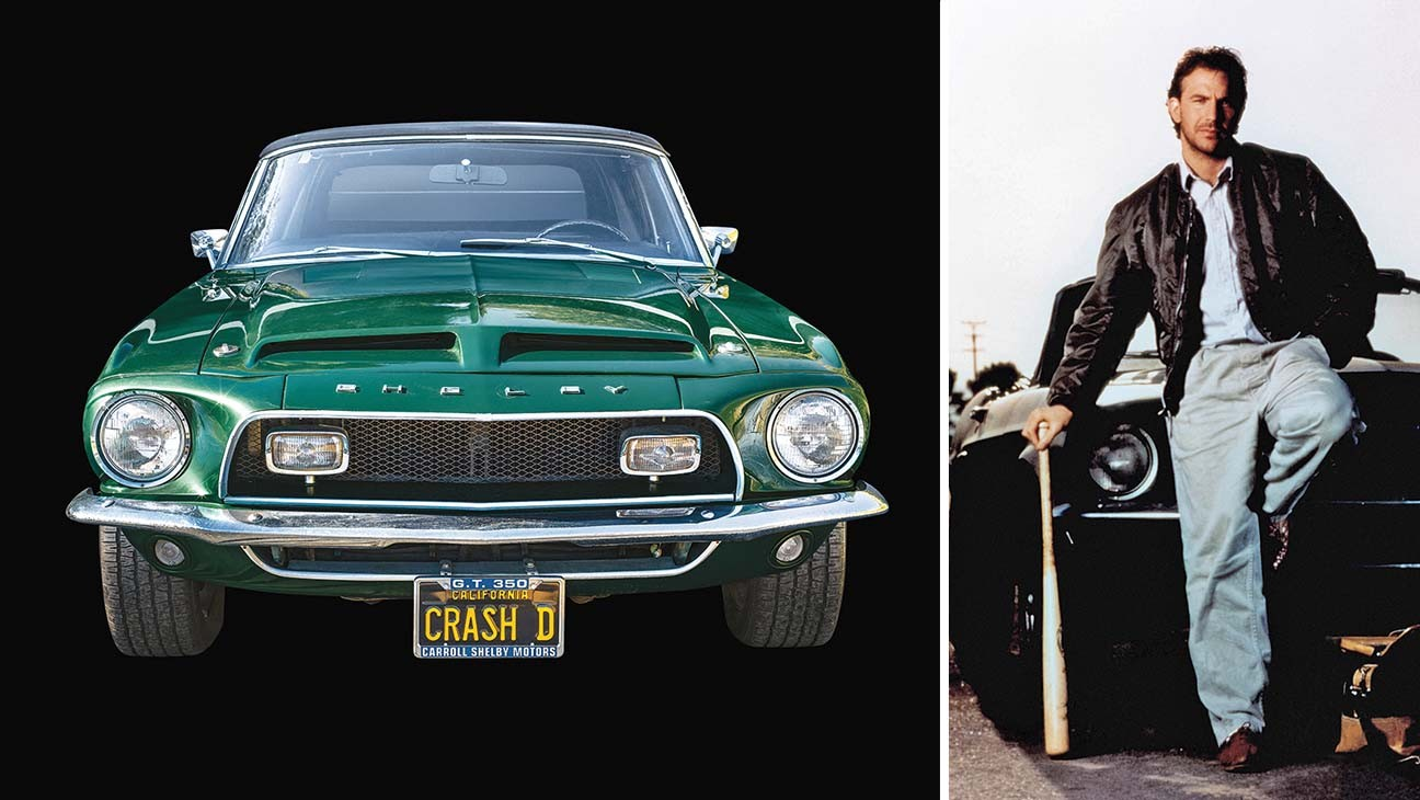 Von links: Ein Foto aus dem Buch von Kevin Costners 1968er Shelby Mustang GT350; mit dem Auto in Bull Durham.