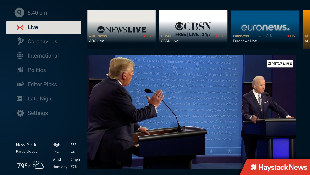 Streamer Haystack News Launches Live Channels, Including ABC News and CBSN