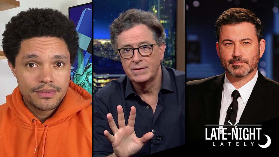 Trevor Noah, Stephen Colbert, and Jimmy Kimmel