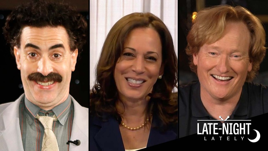 Sacha Baron Cohen on Kimmel - Kama Harris on Daily Show -Conan O'Brien
