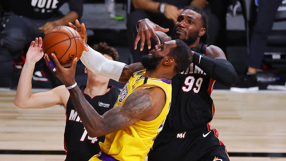 Jae Crowder of the Miami Heat defends LeBron James of the Los Angeles Lakers during the fourth quarter in Game Four of the 2020 NBA Finals on Oct 6.