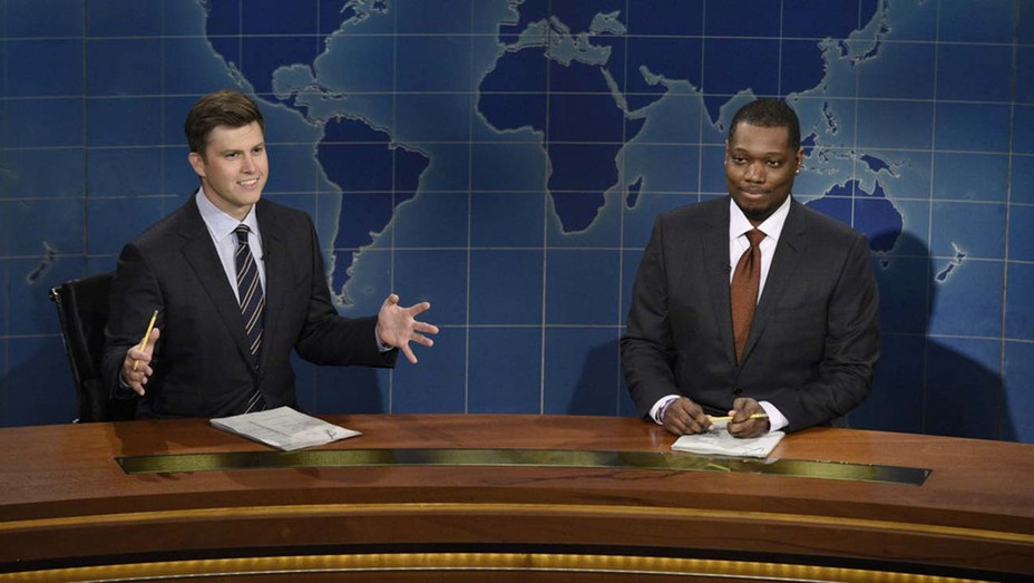 "Colin Jost and Michael Che in 'Saturday Night Live's ""Weekend Update"" segment"