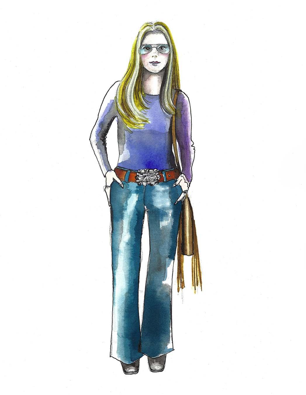 Eine Skizze für The Glorias von Kostümdesignerin Sandy Powell
