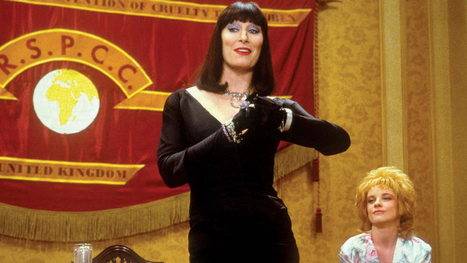 Anjelica Huston (left) as the evil Grand High Witch and Jane Horrocks as her secretary in 'The Witches.'