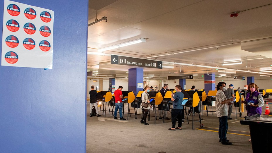 A general view of the Beverly Hills City Hall voting center set up in a parking garage on October 28, 2020, in Beverly Hills, California.