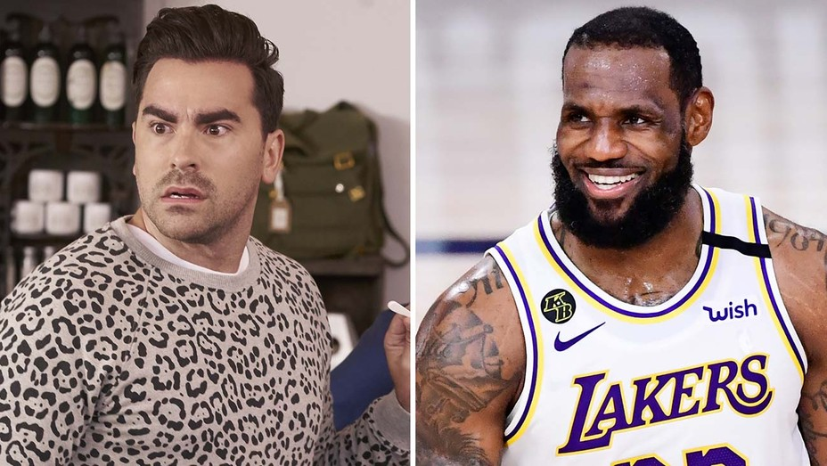 Dan Levy in Schitt's Creek (Pop TV) and LeBron James in the NBA Finals