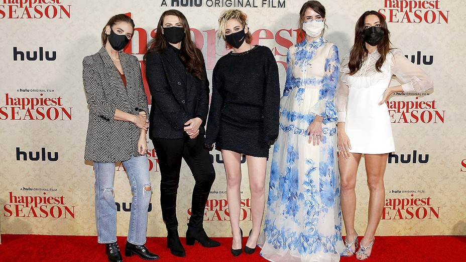 Alison Brie, Clea DuVall, Kristen Stewart, Mary Holland and Aubrey Plaza at the 'Happiest Season' premiere