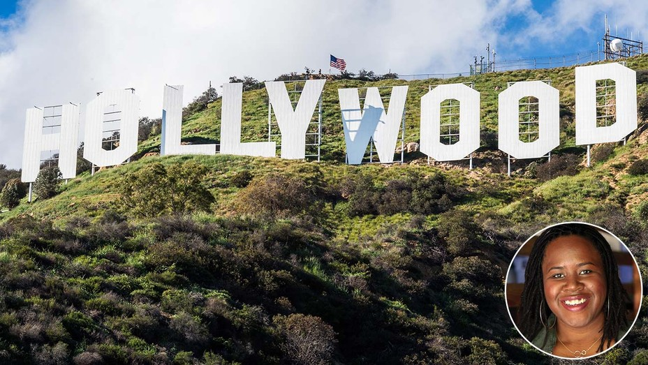 Hollywood sign with an inset of Angela Harvey