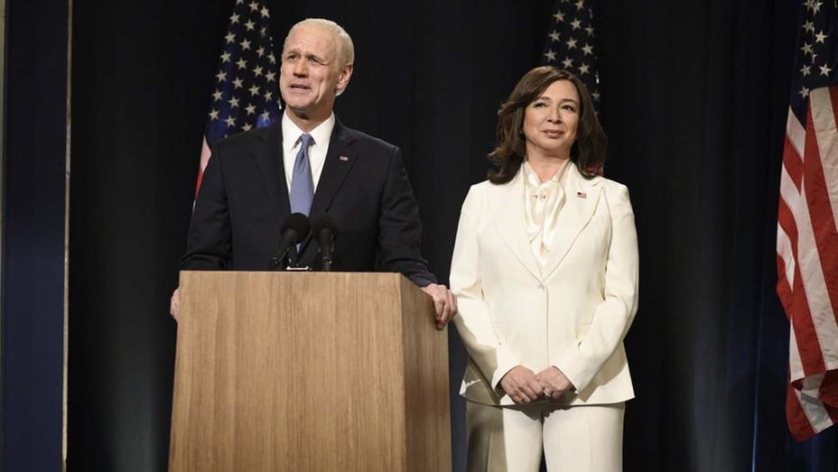 "Jim Carrey as Joe Biden and Maya Rudolph as Kamala Harris during the 'SNL' ""Biden Victory"" Cold Open"