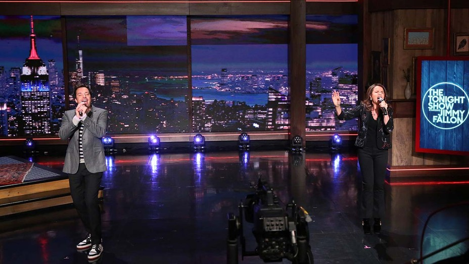 Jimmy Fallon and singer Patty Smyth on the The Tonight Show Starring Jimmy Fallon