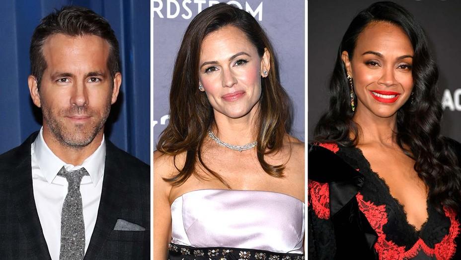 Ryan Reynolds, Jennifer Garner and Zoe Saldana
