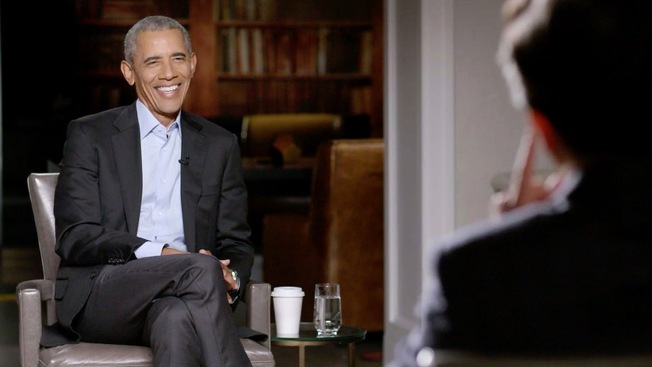 'A Late Show with Stephen Colbert' and guest Barack Obama during Tuesday's November 24, 2020 show.