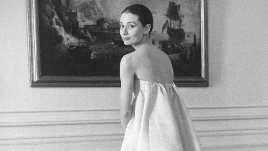 AUDREY HEPBURN (1929-1993) British film actress at the Givenchy studio about 1957