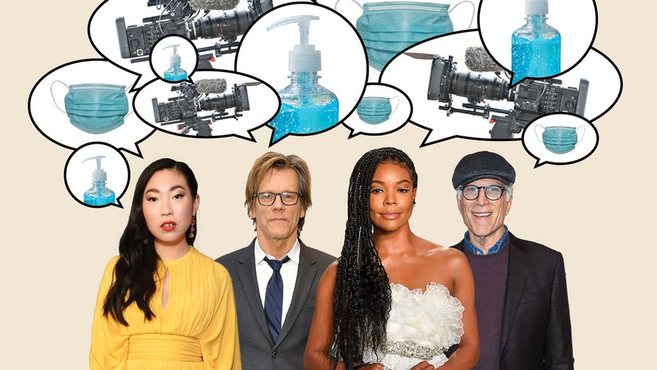 Awkwafina, Kevin Bacon, Gabrielle Union and Ted Danson describe on-set life while practicing COVID-19 protocols, from fewer touch-ups to alcohol spritzing after scenes.