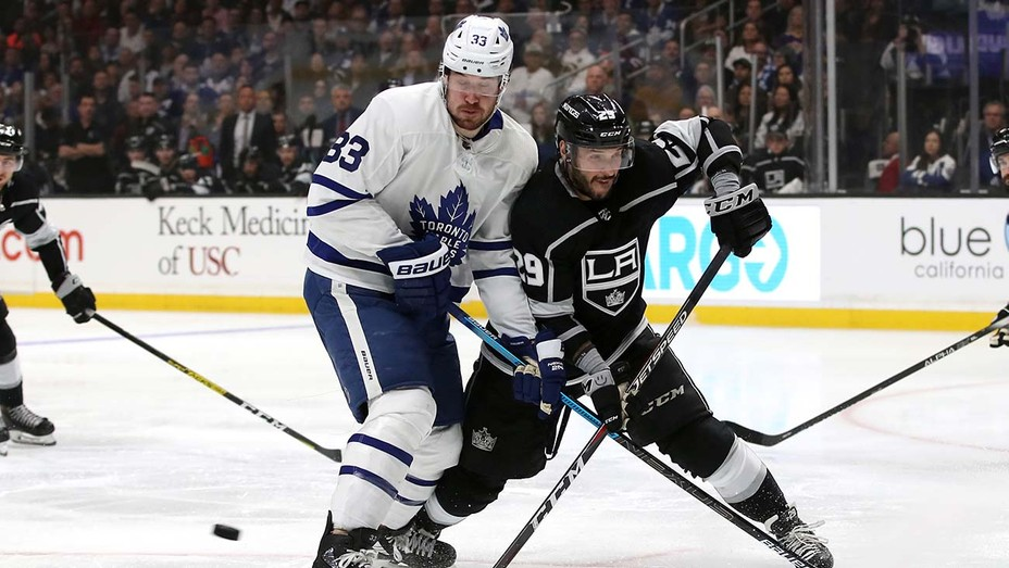 Cody Ceci #83 of the Toronto Maple Leafs skates against Martin Frk #29 of the Los Angeles Kings during the third period at Staples Center.