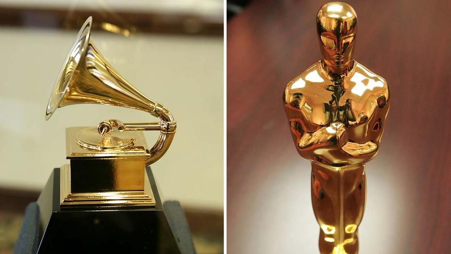 Grammy statuette and an Oscar statuette