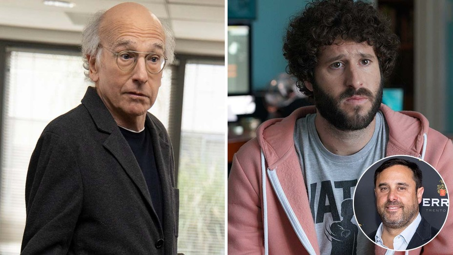 Larry David on Curb and Dave Burd and inset of Jeff Schaffer
