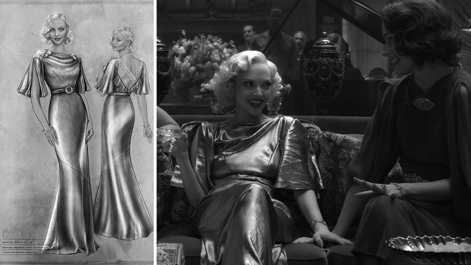 Amanda Seyfried (left) as Marion Davies in Mank; a sketch of her dress, designed by Trish Summerville.