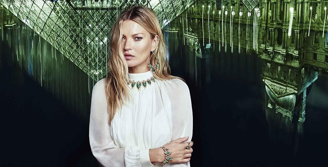 Model Kate Moss, die mit Messika an einer neuen Kollektion zusammengearbeitet hat