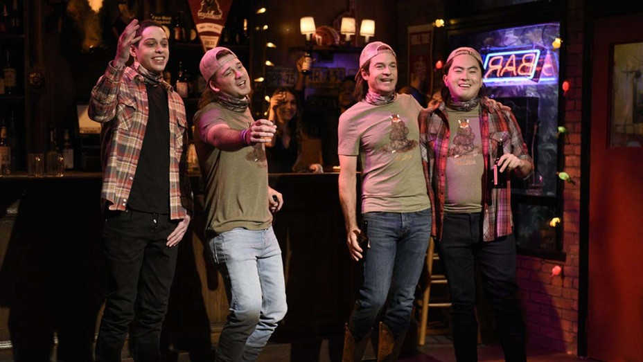 "Pete Davidson, musical guest Morgan Wallen, host Jason Bateman as future Morgan, and Bowen Yang as future Morgan during the 'SNL' ""Morgan Wallen Party"" sketch"