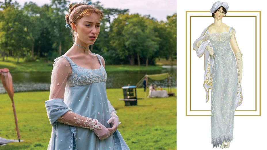 """Dynevor in a powder blue dress with a slim empire silhouette. """"Ellen was able to turn the clothing our ladies wear into works of art themselves,"""" says showrunner Chris VanDusen."""