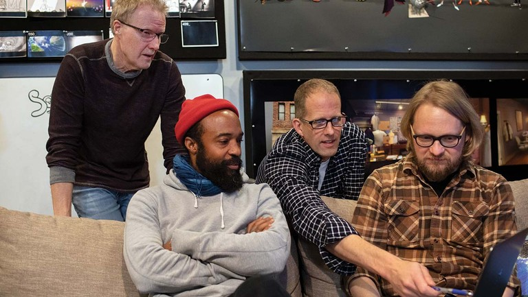 <p>From left: Soul production designer Steve Pilcher, consultant Bradford Young, director Pete Docter and director of photography Ian Megibben at Pixar Studios in Emeryville, California.</p>