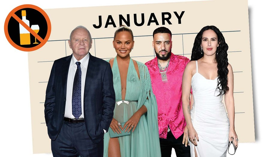"From left: Anthony Hopkins, Chrissy Teigen, French Montana (who became sober a year ago after an ICU scare due to ""too much drinking, too many pills"") and Rumer Willis (four years sober)."
