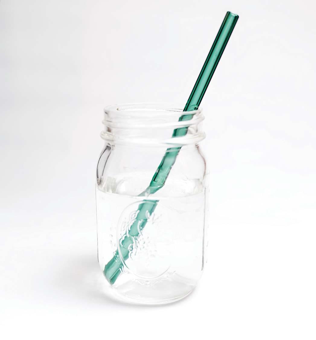 Glasstroh, handgefertigtes, spülmaschinenfestes blaugrünes Glasstroh von Simply Straw; 9 US-Dollar ohne Wasteshop.com